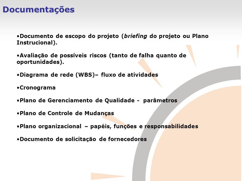 Documentações Documento de escopo do projeto (briefing do projeto ou Plano Instrucional).