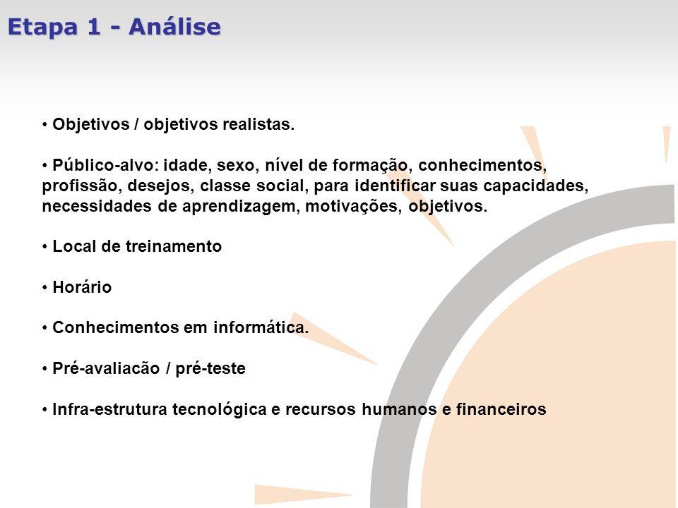 Etapa 1 - Análise Objetivos / objetivos realistas.