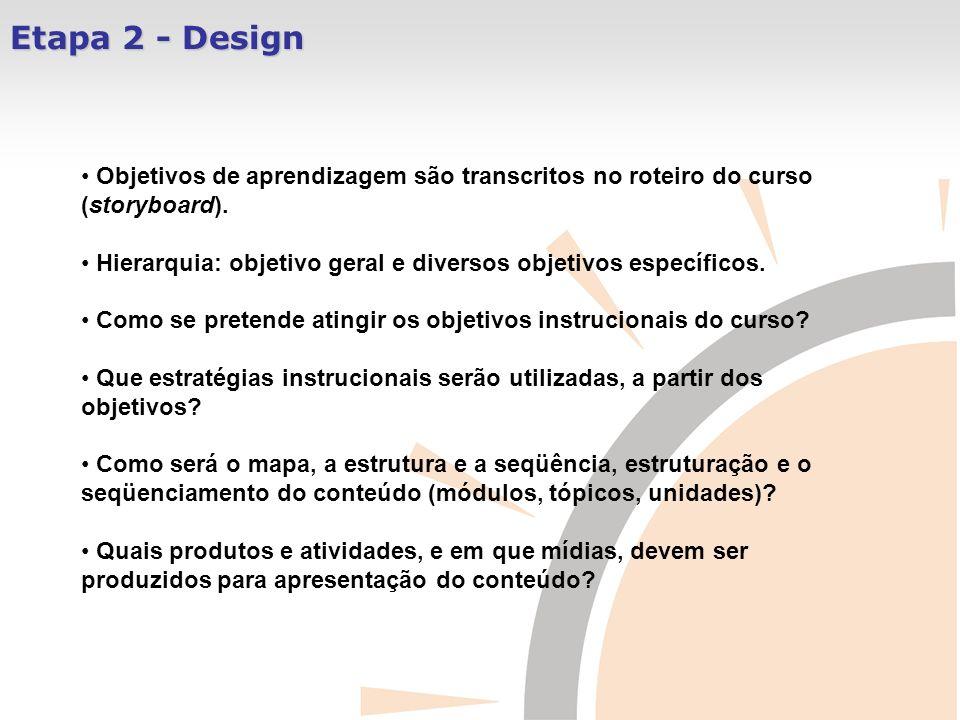 Etapa 2 - Design Objetivos de aprendizagem são transcritos no roteiro do curso (storyboard).