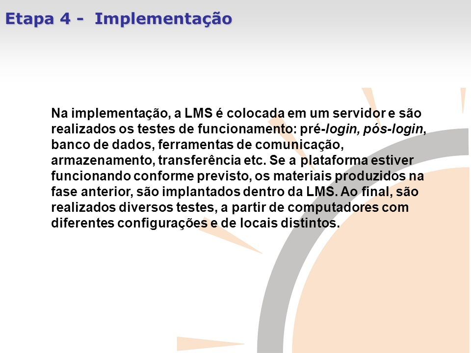 Etapa 4 - Implementação
