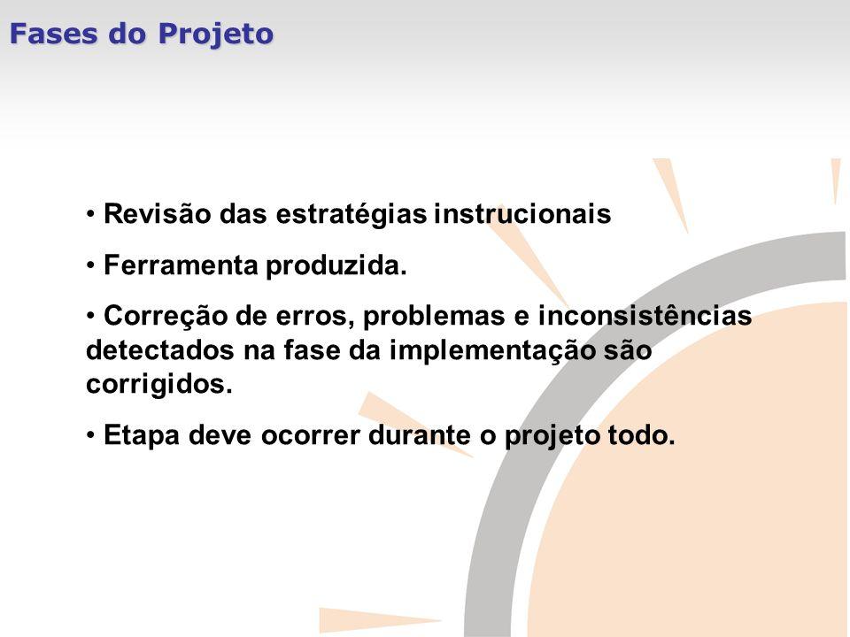 Fases do Projeto Revisão das estratégias instrucionais. Ferramenta produzida.