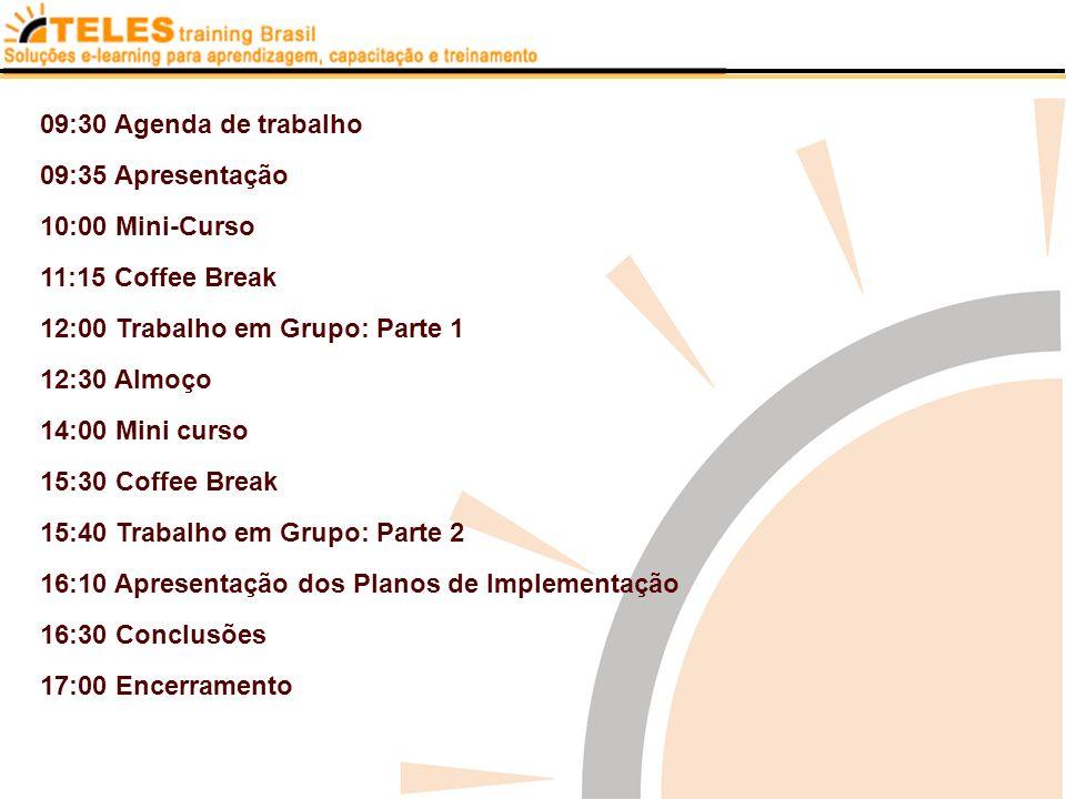 09:30 Agenda de trabalho 09:35 Apresentação. 10:00 Mini-Curso. 11:15 Coffee Break. 12:00 Trabalho em Grupo: Parte 1.