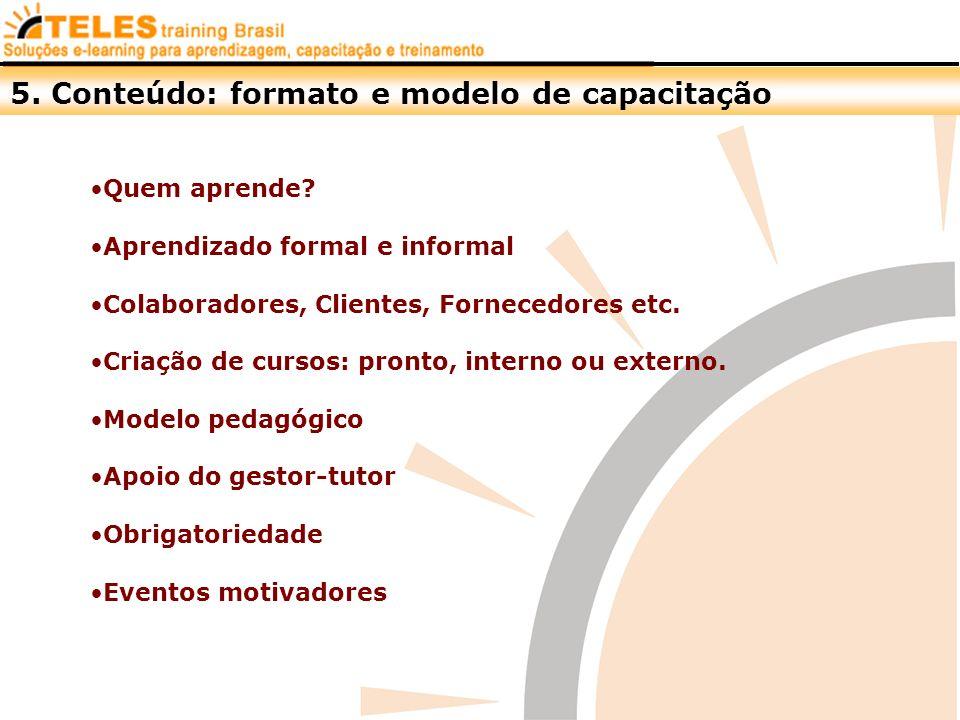 5. Conteúdo: formato e modelo de capacitação