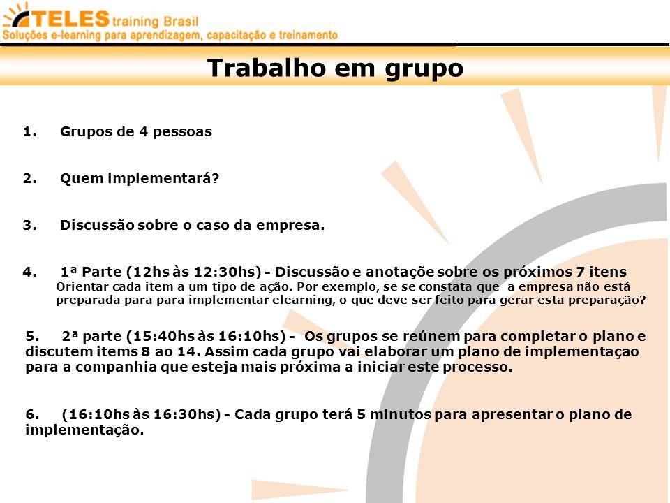 Trabalho em grupo Grupos de 4 pessoas Quem implementará