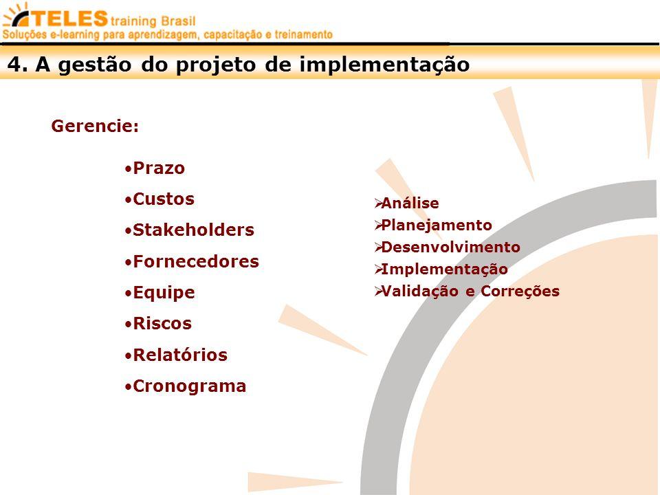 4. A gestão do projeto de implementação