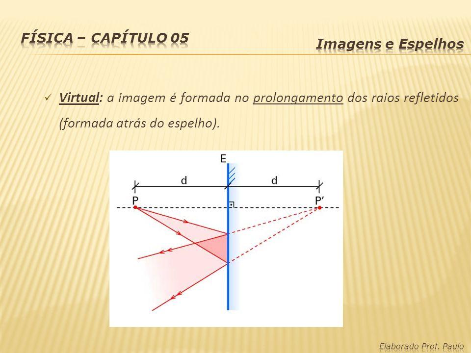 Física – capítulo 05 Imagens e Espelhos. Virtual: a imagem é formada no prolongamento dos raios refletidos (formada atrás do espelho).