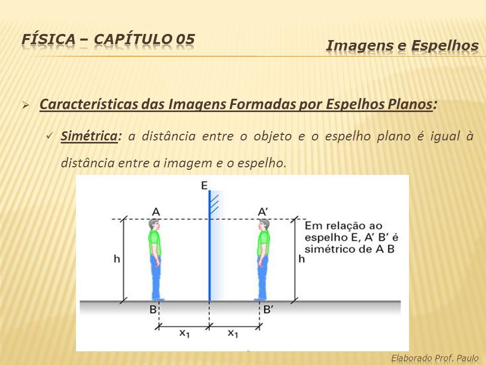 Características das Imagens Formadas por Espelhos Planos: