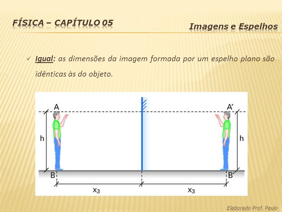 Física – capítulo 05 Imagens e Espelhos. Igual: as dimensões da imagem formada por um espelho plano são idênticas às do objeto.