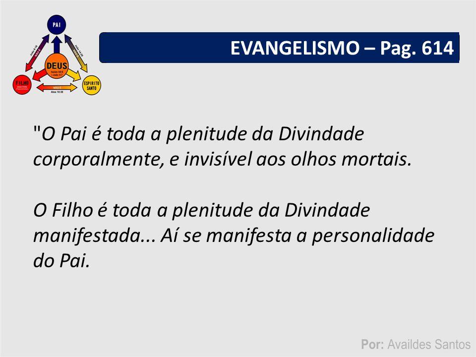 EVANGELISMO – Pag. 614 O Pai é toda a plenitude da Divindade corporalmente, e invisível aos olhos mortais.