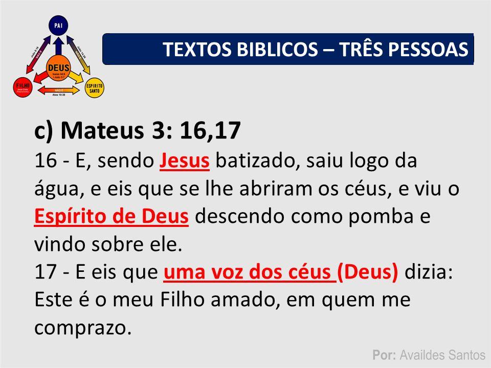 TEXTOS BIBLICOS – TRÊS PESSOAS