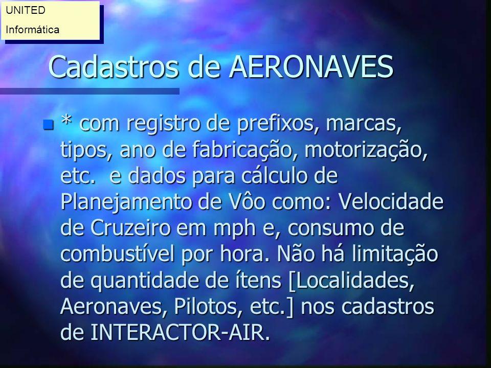 Cadastros de AERONAVES