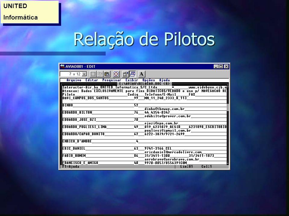 UNITED Informática Relação de Pilotos