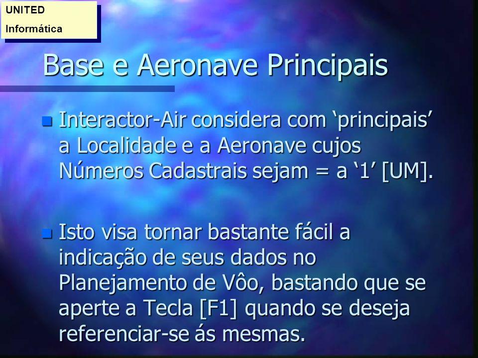 Base e Aeronave Principais
