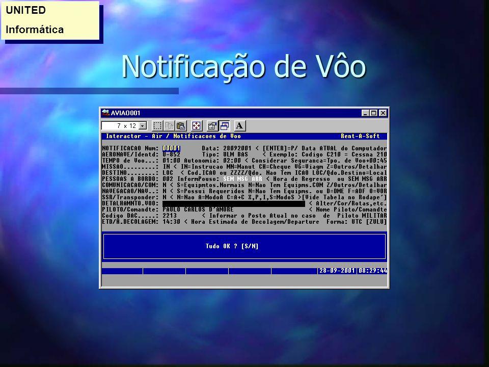 UNITED Informática Notificação de Vôo