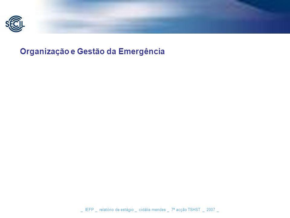 Organização e Gestão da Emergência