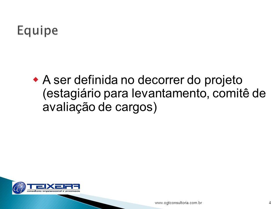 Equipe A ser definida no decorrer do projeto (estagiário para levantamento, comitê de avaliação de cargos)