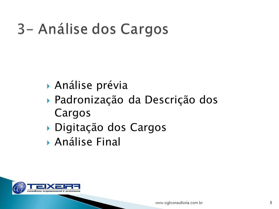 3- Análise dos Cargos Análise prévia
