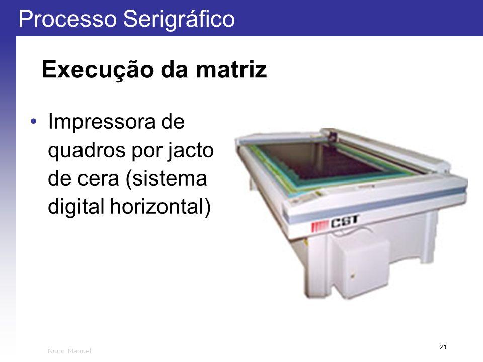 Execução da matriz Impressora de quadros por jacto de cera (sistema digital horizontal) Nuno Manuel