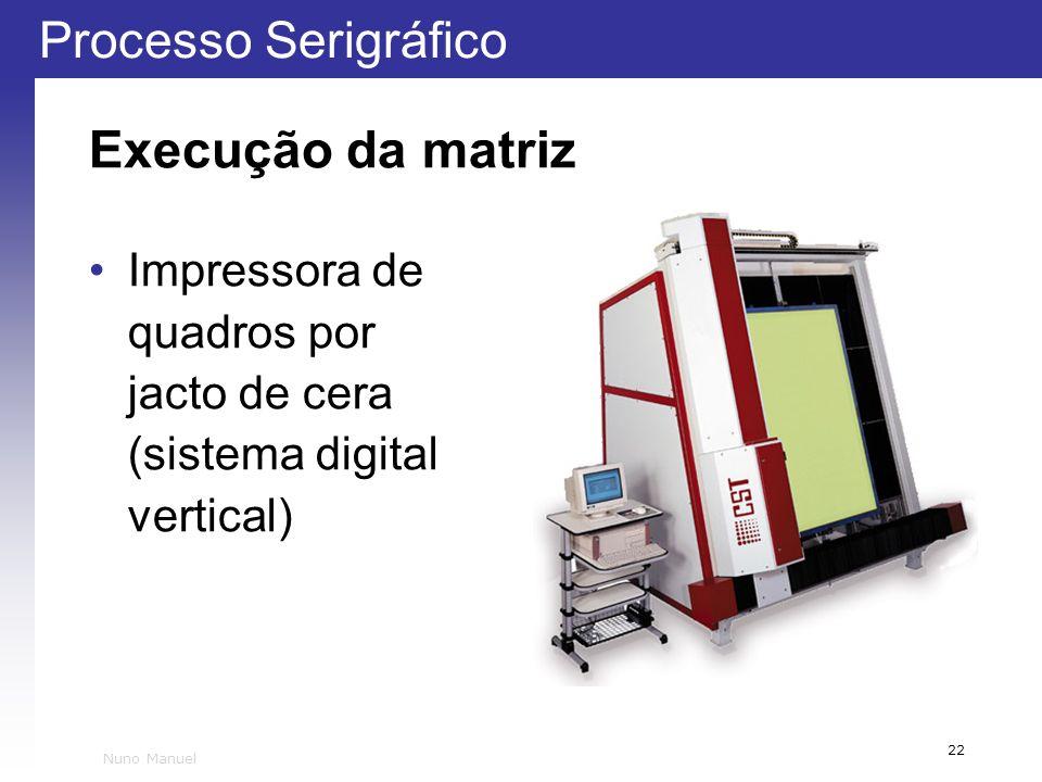 Execução da matriz Impressora de quadros por jacto de cera (sistema digital vertical) Nuno Manuel
