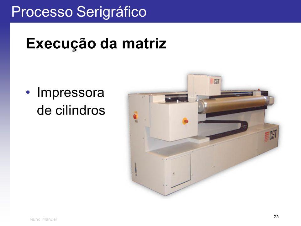 Execução da matriz Impressora de cilindros Nuno Manuel