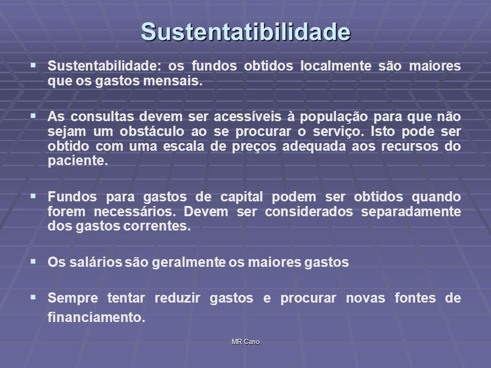 Sustentatibilidade Sustentabilidade: os fundos obtidos localmente são maiores que os gastos mensais.