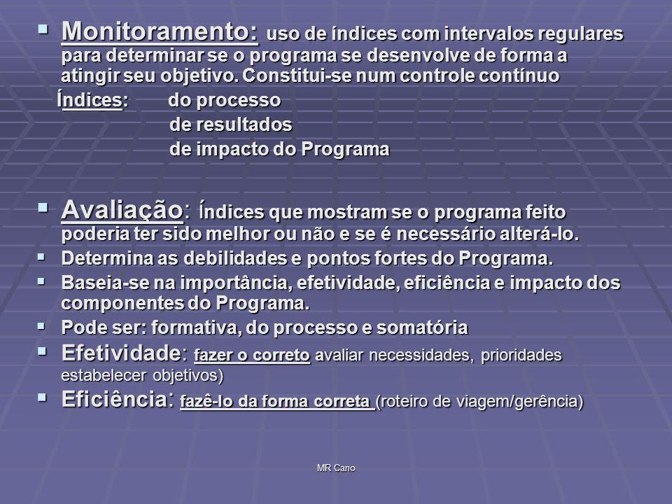 Monitoramento: uso de índices com intervalos regulares para determinar se o programa se desenvolve de forma a atingir seu objetivo. Constitui-se num controle contínuo