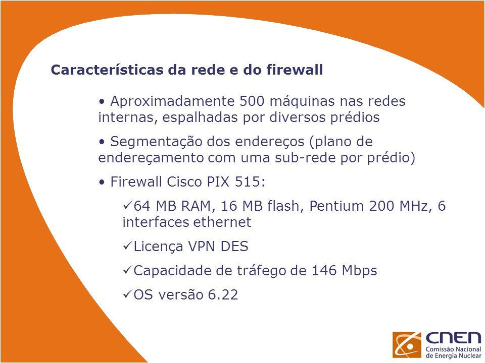 Características da rede e do firewall
