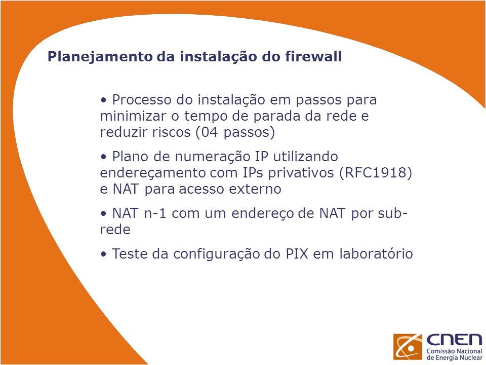 Planejamento da instalação do firewall