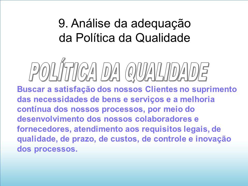 9. Análise da adequação da Política da Qualidade