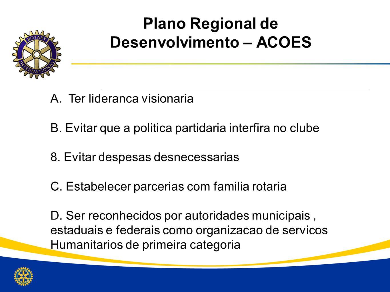Plano Regional de Desenvolvimento – ACOES