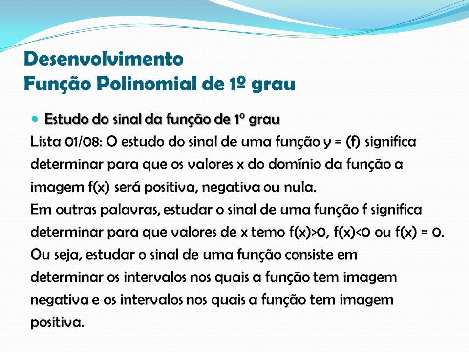 Desenvolvimento Função Polinomial de 1º grau