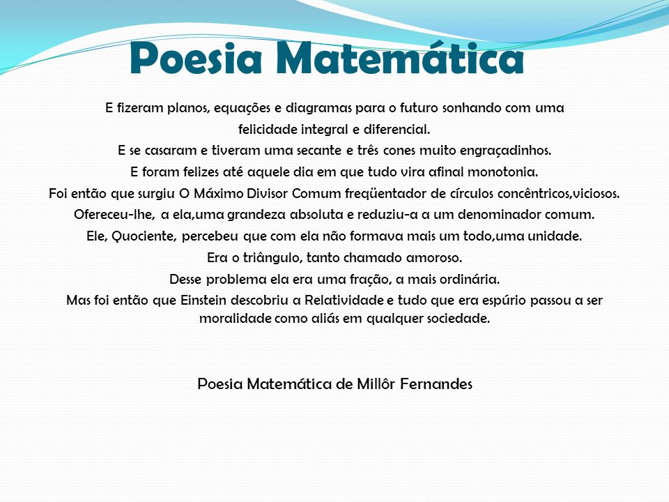 Poesia Matemática Poesia Matemática de Millôr Fernandes