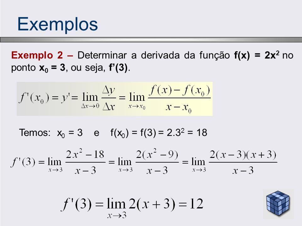 Exemplos Exemplo 2 – Determinar a derivada da função f(x) = 2x2 no ponto x0 = 3, ou seja, f'(3).