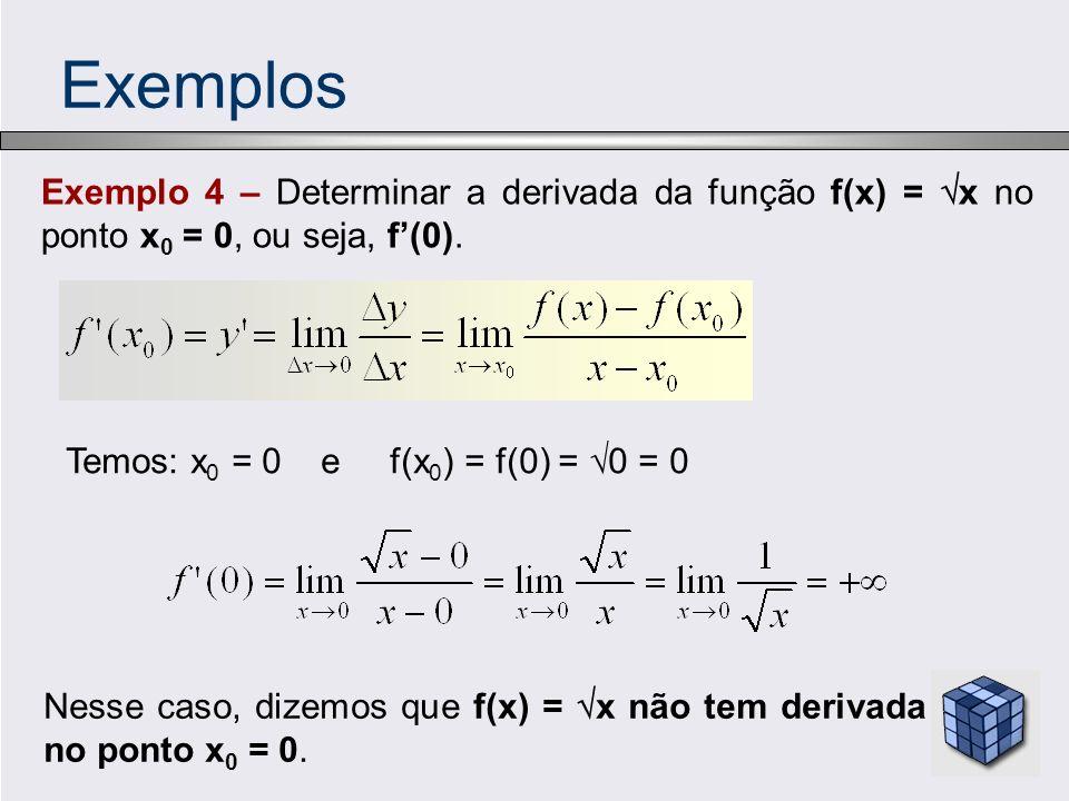 Exemplos Exemplo 4 – Determinar a derivada da função f(x) = x no ponto x0 = 0, ou seja, f'(0). Temos: x0 = 0 e f(x0) = f(0) = 0 = 0.