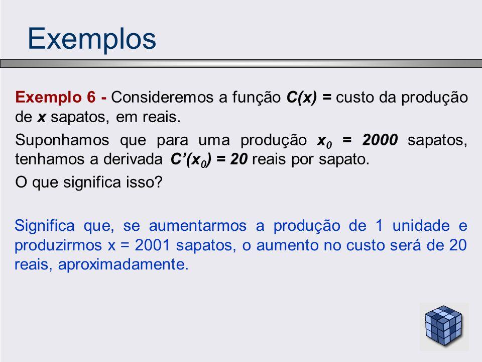 Exemplos Exemplo 6 - Consideremos a função C(x) = custo da produção de x sapatos, em reais.