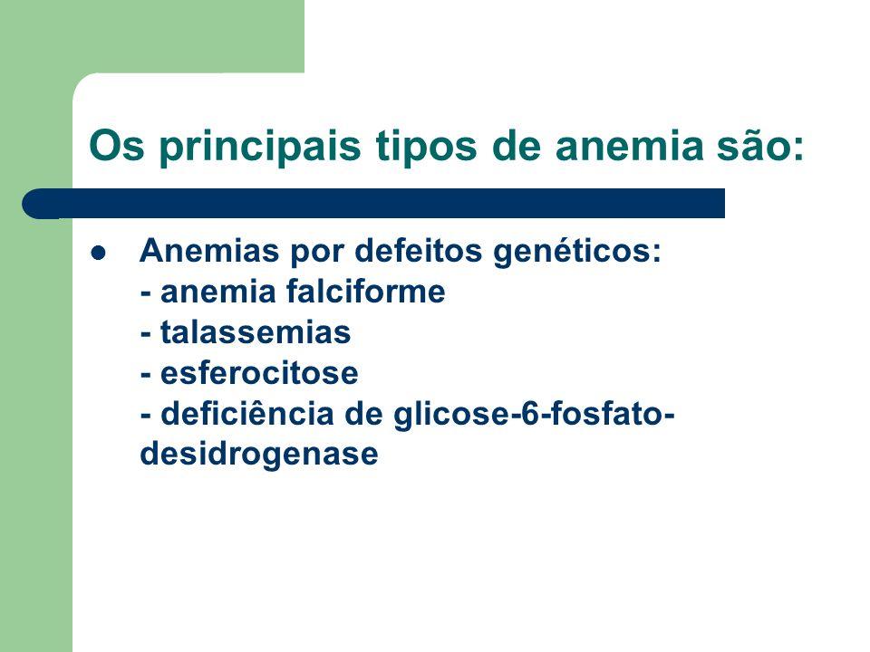 Os principais tipos de anemia são: