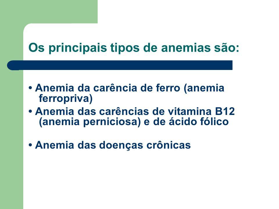 Os principais tipos de anemias são: