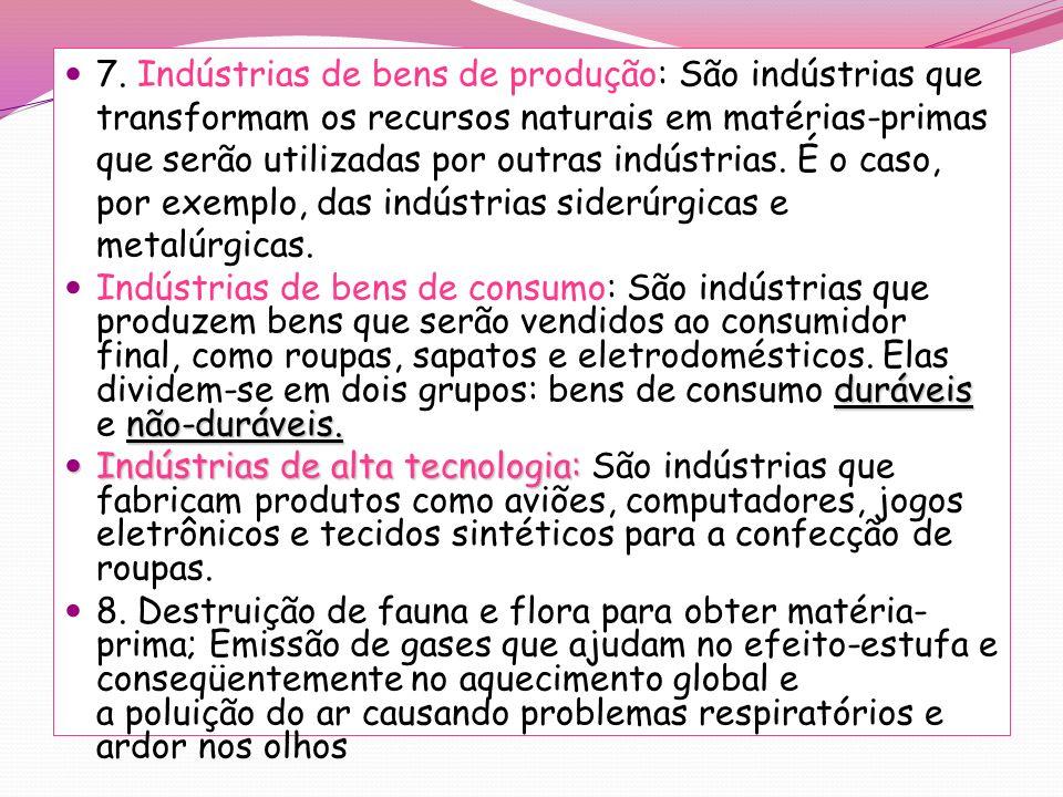 7. Indústrias de bens de produção: São indústrias que transformam os recursos naturais em matérias-primas que serão utilizadas por outras indústrias. É o caso, por exemplo, das indústrias siderúrgicas e metalúrgicas.
