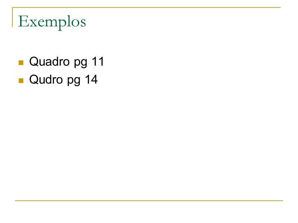 Exemplos Quadro pg 11 Qudro pg 14