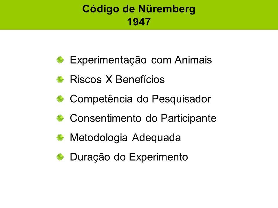 Código de Nüremberg 1947 Experimentação com Animais. Riscos X Benefícios. Competência do Pesquisador.