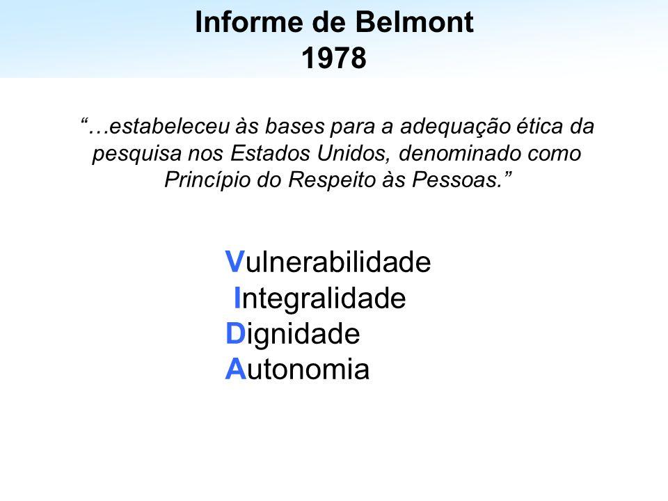 Informe de Belmont 1978 Vulnerabilidade Integralidade Dignidade