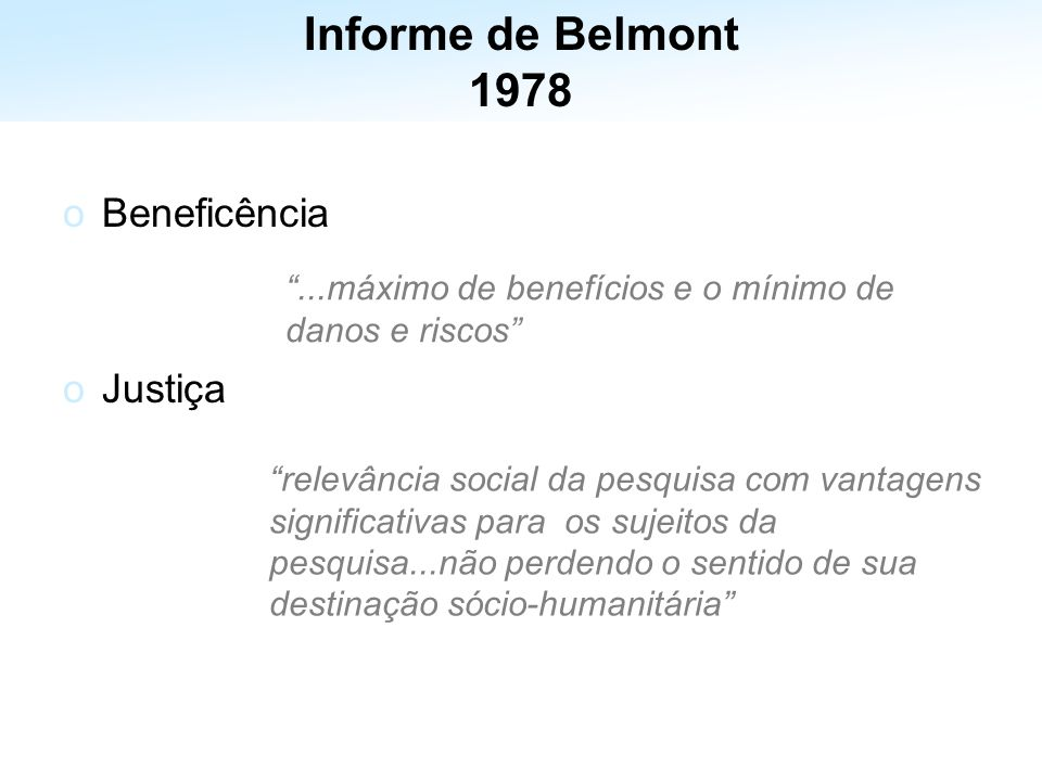 Informe de Belmont 1978 Beneficência Justiça