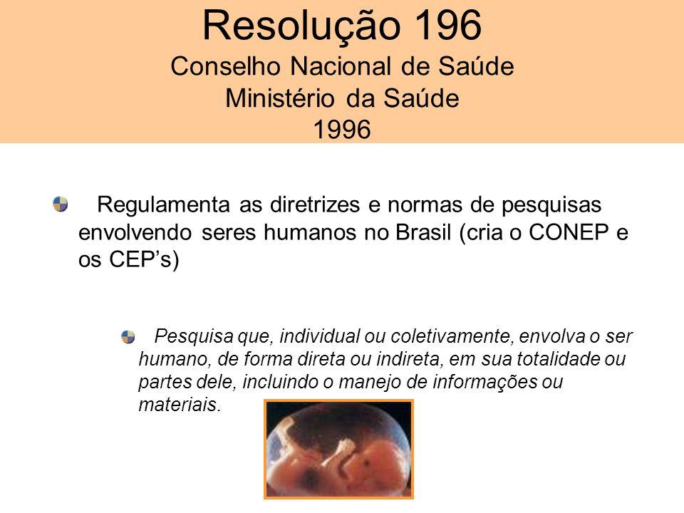 Resolução 196 Conselho Nacional de Saúde Ministério da Saúde 1996