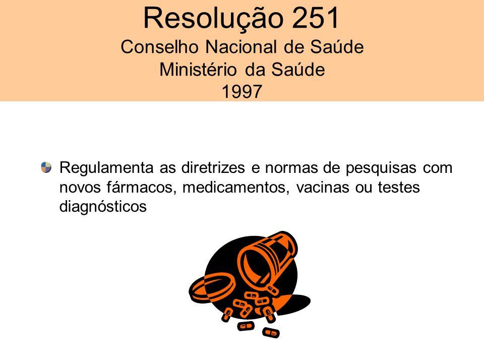 Resolução 251 Conselho Nacional de Saúde Ministério da Saúde 1997