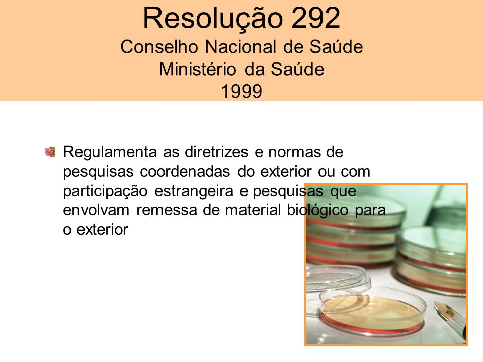 Resolução 292 Conselho Nacional de Saúde Ministério da Saúde 1999