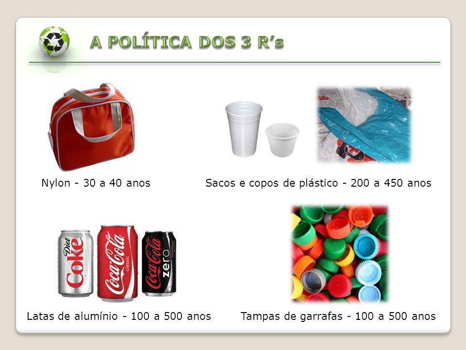 A POLÍTICA DOS 3 R's Nylon - 30 a 40 anos Sacos e copos de plástico - 200 a 450 anos.