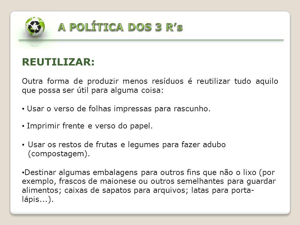 A POLÍTICA DOS 3 R's REUTILIZAR: