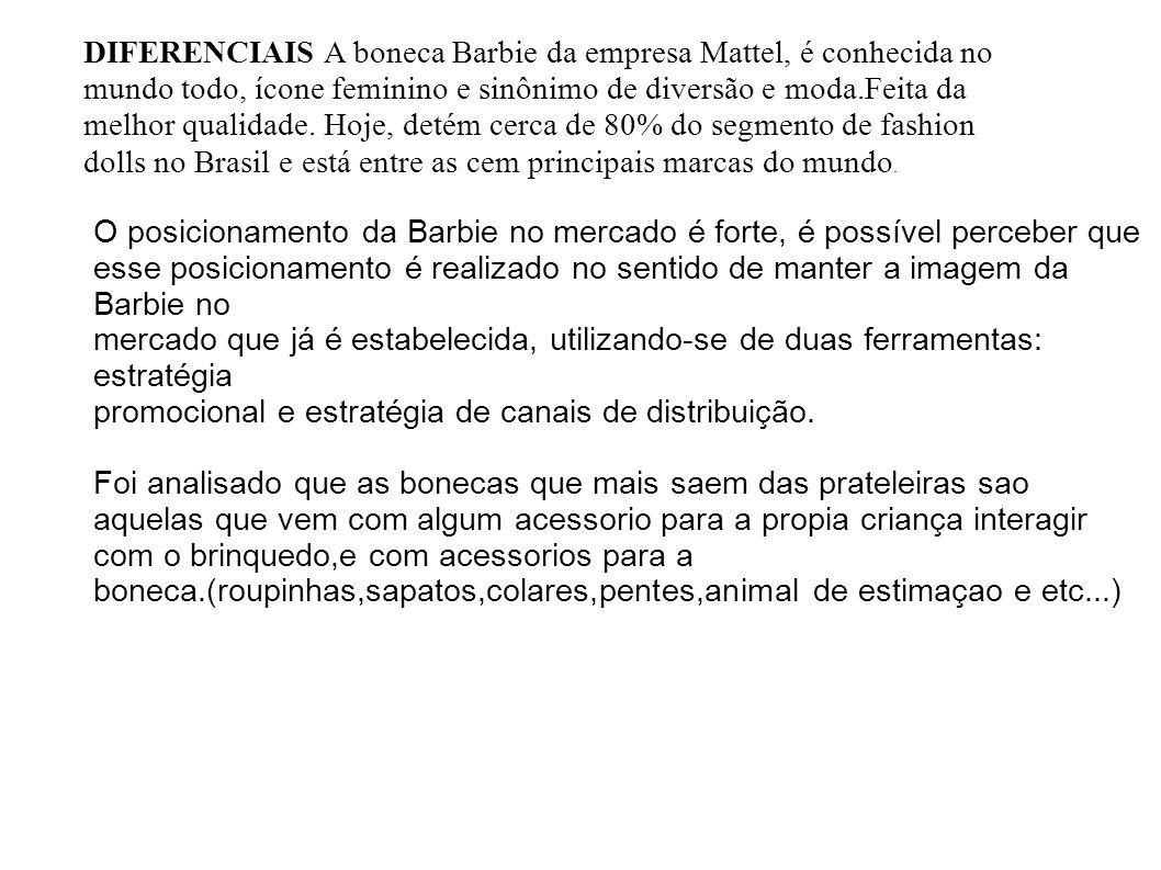 DIFERENCIAIS A boneca Barbie da empresa Mattel, é conhecida no mundo todo, ícone feminino e sinônimo de diversão e moda.Feita da melhor qualidade. Hoje, detém cerca de 80% do segmento de fashion dolls no Brasil e está entre as cem principais marcas do mundo.