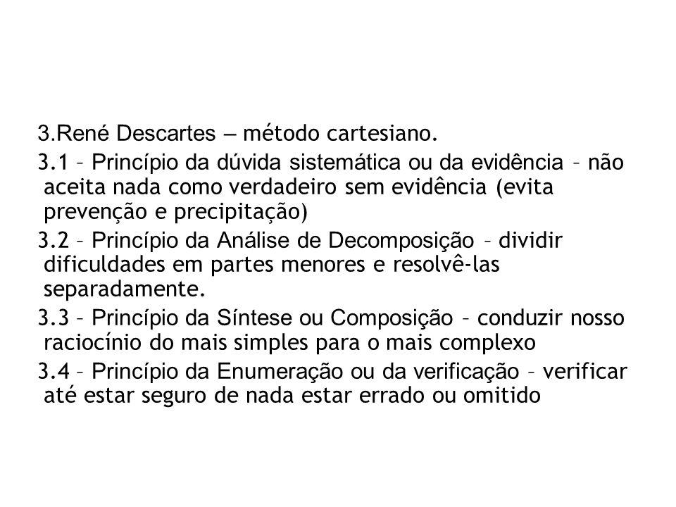 René Descartes – método cartesiano.