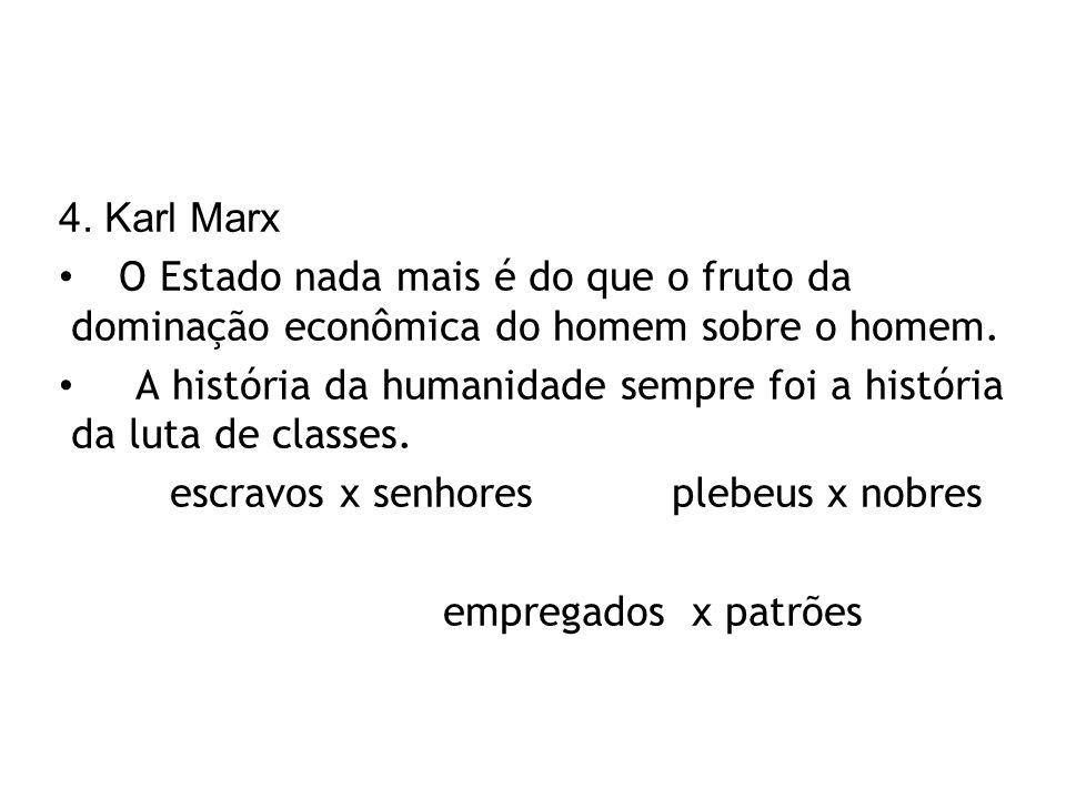 4. Karl Marx O Estado nada mais é do que o fruto da dominação econômica do homem sobre o homem.